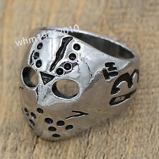 Cool Stainless Steel Silver Friday 13th Jason Mask Men's Biker Ring Size 10