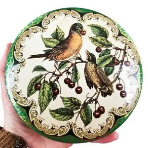 Vintage Daher Decorated Ware Painted Round Tin With Lid Birds & Berries Made in