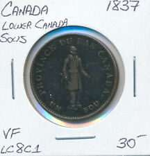 LOWER CANADA SOUS HALF PENNY LC8C1 1837 - VF