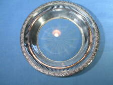 """Vintage Frank Whiting 6-5/8"""" Reticulated Sterling & Etched Glass Bottle Coaster"""