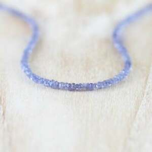 Natural Tanzanite Faceted Gemstone Beaded Strand Necklace 925 Silver Clasp 18''