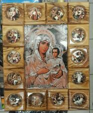 Hand made Virgin Mary 14 stations of the cross olive wood wall decor plaque