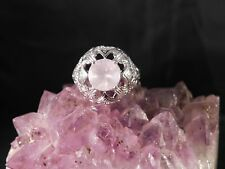 2.61 Ct. Round Faceted Rose Quartz Ring Sterling Silver 1920's Style Filigree