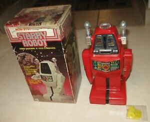 1970s VINTAGE STARRY ROBOT IN THE ORIGINAL BOX LIGHTS SOUND NOT WALKING