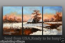 Palette Knife Impressionism Landscape creek oil Painting Framed Ready To Be Hung