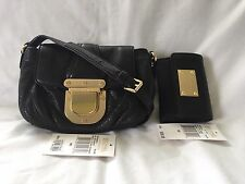 Michael Kors Charleton Crossbody Bag & Jet Set Trifold Coin Purse Wallet Black