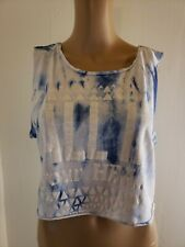 Pull & Bear Women's Tie Dye Crop Top Blue White Size Small All In your Head