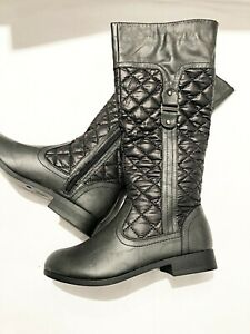 New Ladies Krush Black Quilted Riding Boot Mid Calf Zip Boot