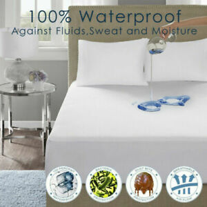 Premium Quality Waterproof Mattress Protector 40CM Fitted Sheet Terry Towel Bed