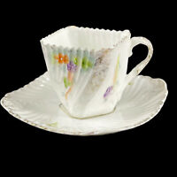 Antique Porcelain Twisted Square Demitasse Cup & Saucer Hand Painted Violets