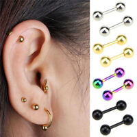 Stainless Steel Barbell Ear Cartilage Tragus Helix Stud Bar Earrings Piercing UR