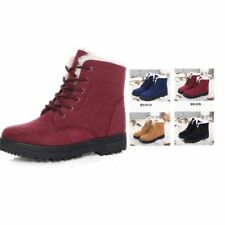 Womens Winter Snow Ankle Boots Army Combat Flat Grip Sole Fur Lined Shoes Size