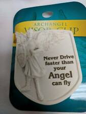 Auto visor clip-NEVER DRIVE FASTER THAN YOUR GUARDIAN ANGEL CAN FLY-new on card
