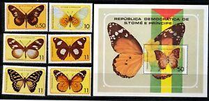 Sao Tomé  Postfrisch Schmetterlinge Michel Nr. 561 - 566 Block 32