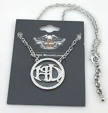 Harley Davidson® Crystal HD Font Silver Tone Pendant Necklace, NWT  Men/Women