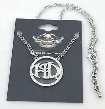 Harley Davidson® Crystal HD Font Silver Tone Pendant Necklace, NWT  Men/Women