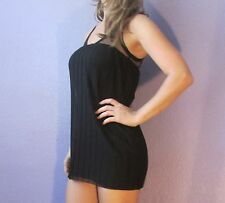 SALVAGE Black Pleated Tunic Top w Lace Corset Style Tie S Small EDGY