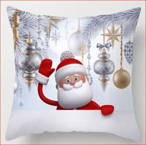 "Waving Santa Pillow Cover Sham 18"" x 18"" Dacron Christmas 45cm Zipper Red White"