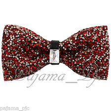 Fashion Red Orange Diamonds Glitters Rhinstone TUXEDO BOW TIE Wedding Party