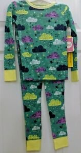 Circo New Girls 4 Long Sleeve 2pc Pajamas 100% Cotton Sleepwear Set Green Cloud