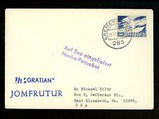"Postal History Norway #388 "" Gratian "" Ship Boat Paquebot 1966 Bremerhaven to PA"