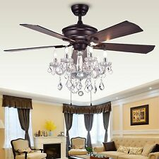 Ceiling Fan with Crystals Chandelier Fancy Light Living Room Bedroom Unique 52