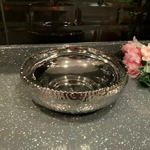 Silver Hammered Effect Round Bowl Table Top Fruit Pot Pourri Gift Chrome Platter