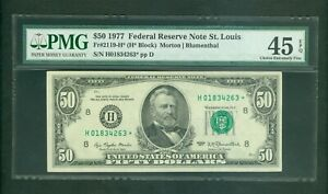 FR#2119-H* 1977 $50 BEAUTIFUL SCARCE ST LOUIS STAR NOTE PMG CHOICE XF 45 EPQ!