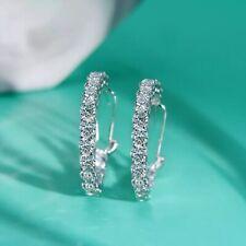 925 Sterling Silver Created Moissanite Gemstone Hoop Earrings, Fine Jewelry