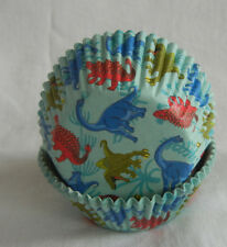 100 colorful Dinosaur green cupcake liners baking paper cup muffin cases 50x33mm