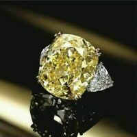 4.00 Ct Canary Yellow Cushion Cut Diamond Engagement Ring In 14k White Gold Fn
