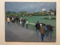 French Impressionist painting Longchamps Racecourse in Paris Horse Oil on panel