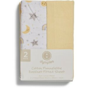 Dymples Flannelette Bassinet Fitted Sheet 2 Pack - Sun Loves Moon