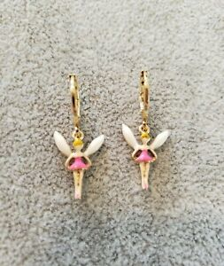 New Yellow Gold Plated Tiny Pink Fairy shape Dangle Earrings