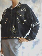 NWOT DKNY DONNA KARAN L Black Wash Denim Studded Jean Jacket 1989 Bikes Flags NY