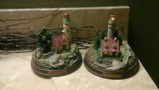 Thomas Kinkade Lighted Lighthouse Beacon Of Hope & Clearing Storms Set Of 2