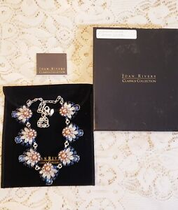 IOB Joan Rivers Colorful Rhinestone Flower Cluster Collar Necklace
