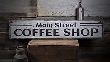 Main Street Coffee Shop, Custom Coffee - Rustic Distressed Wood Sign ENS1001778
