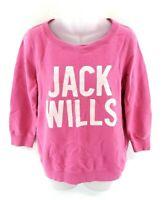JACK WILLS Womens Jumper Sweater 12 Pink Cotton