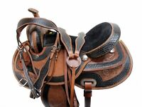 GAITED WESTERN SADDLE 15 16 17 PLEASURE HORSE TRAIL FLORAL TOOLED LEATHER TACK