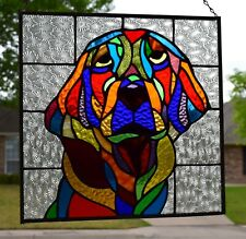 """""""Hound Dog"""" Stained Glass Window Panel"""