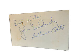 Signed 3 x 5 John Sandusky Cleveland Browns Baltimore Colts Miami Dolphins