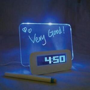 Digital Message Board Clock Alarm Temperature Calendar Timer Blue & Green Light