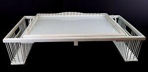 Vintage Breakfast in Bed Tray Table Reading Lap Desk Tilt 2 Side Holders Pockets