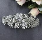 Silver tone with clear rhinestone crystal hair barrettes metal hair clip ha3090