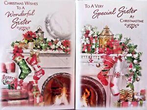 SISTER CHRISTMAS CARD  ~ CHOICE OF 2 STOCKINGS DESIGNS ~ QUALITY CARD NICE VERSE