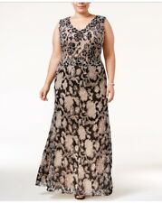 Betsy & Adam NEW Black Floral Cord Women's Size 14W Plus Ball Gown $279
