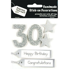 Age 30  Silver Happy Birthday MIP Greeting Card Toppers DIY Handmade Craft NEW