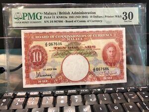 1941 $10 Malaya PMG30