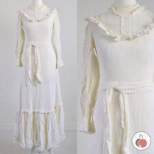 WHITE FRILL TRIM, BELTED 1970s VINTAGE PRAIRIE BOHO DRESS 8